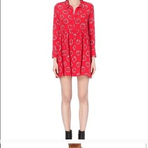 Sandro Peace Print Red Silk Dress